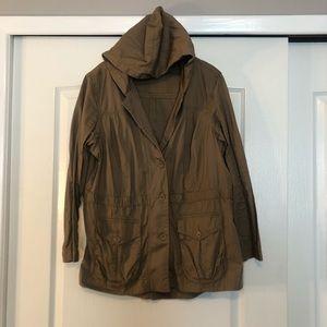 Dressbarn Tan Hooded Button Front Jacket